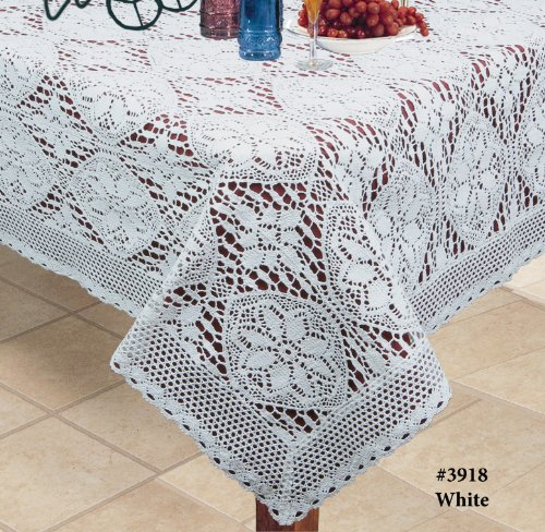 "Crochet Lace Tablecloth 60x120"" Rectangular Knitted Table"