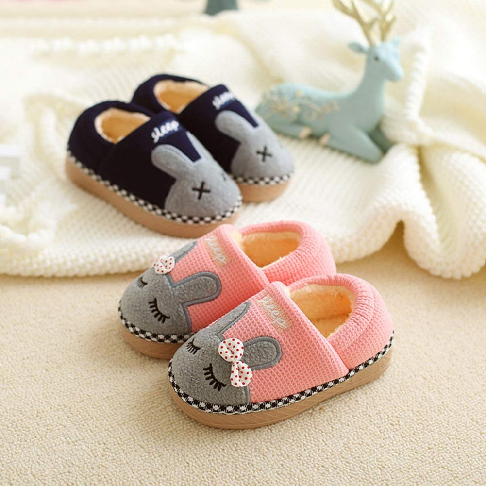 Kids Fur Lined Indoor House Slipper Bunny Warm Winter Home Slippers Toddler//Little Kid DENTRUN Girls Boys Cute Home Shoes