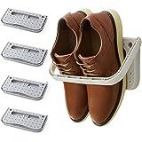 4 Pack Hanging Plastic Shoe Rack Wall Mount Creative Folding Organizer Camper Shoes Storage Shelf Adhesive Shoe Holder For Do