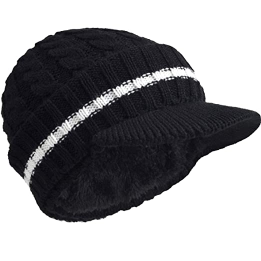Retro Newsboy Knitted Hat with Visor Bill Winter Warm Hat for Men (Black) 616ee962afb