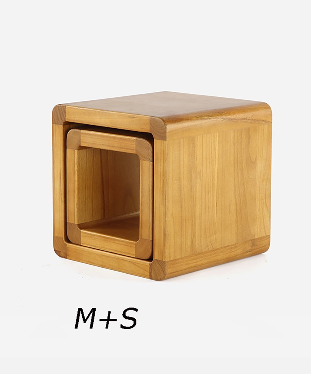 Farbe : Holzfarbe, gr/ö/ße : S+No.6 Basket Mehrfarbig optional WUFENG Multifunktions-Paulownia Holz Hocker W/ürfel Bank