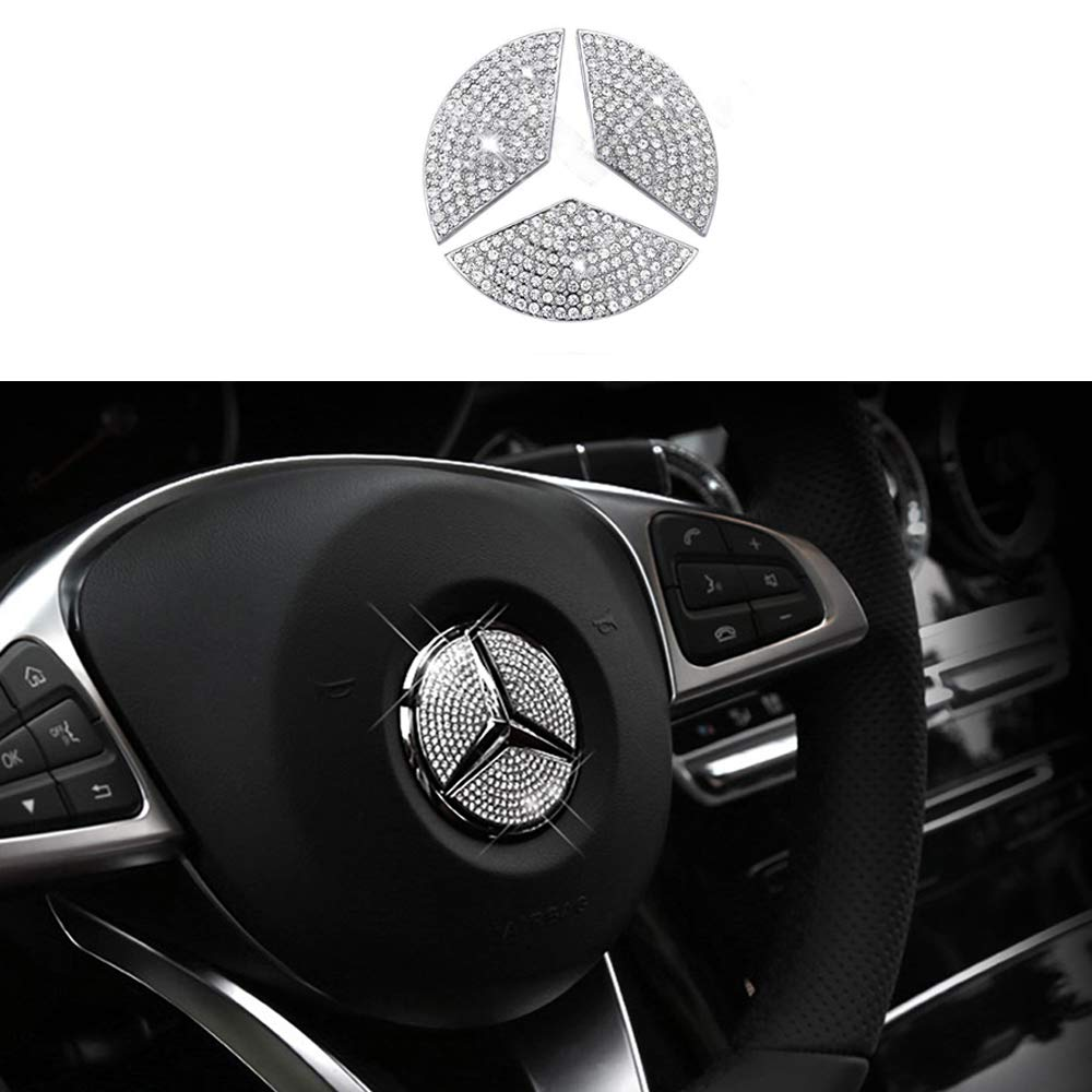 GLE GLC,GLK Class S GL E GLA TopDall Steering Wheel Unique Crystal Badge Emblem Overlay Decal Decoration Cover Sticker Trim for Mercedes-Benz A B,C ML CLA