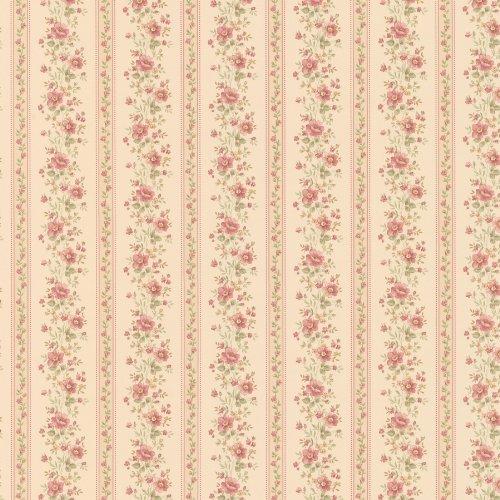 Brewster 413-66344 Laura Floral Stripe Wallpaper, Beige