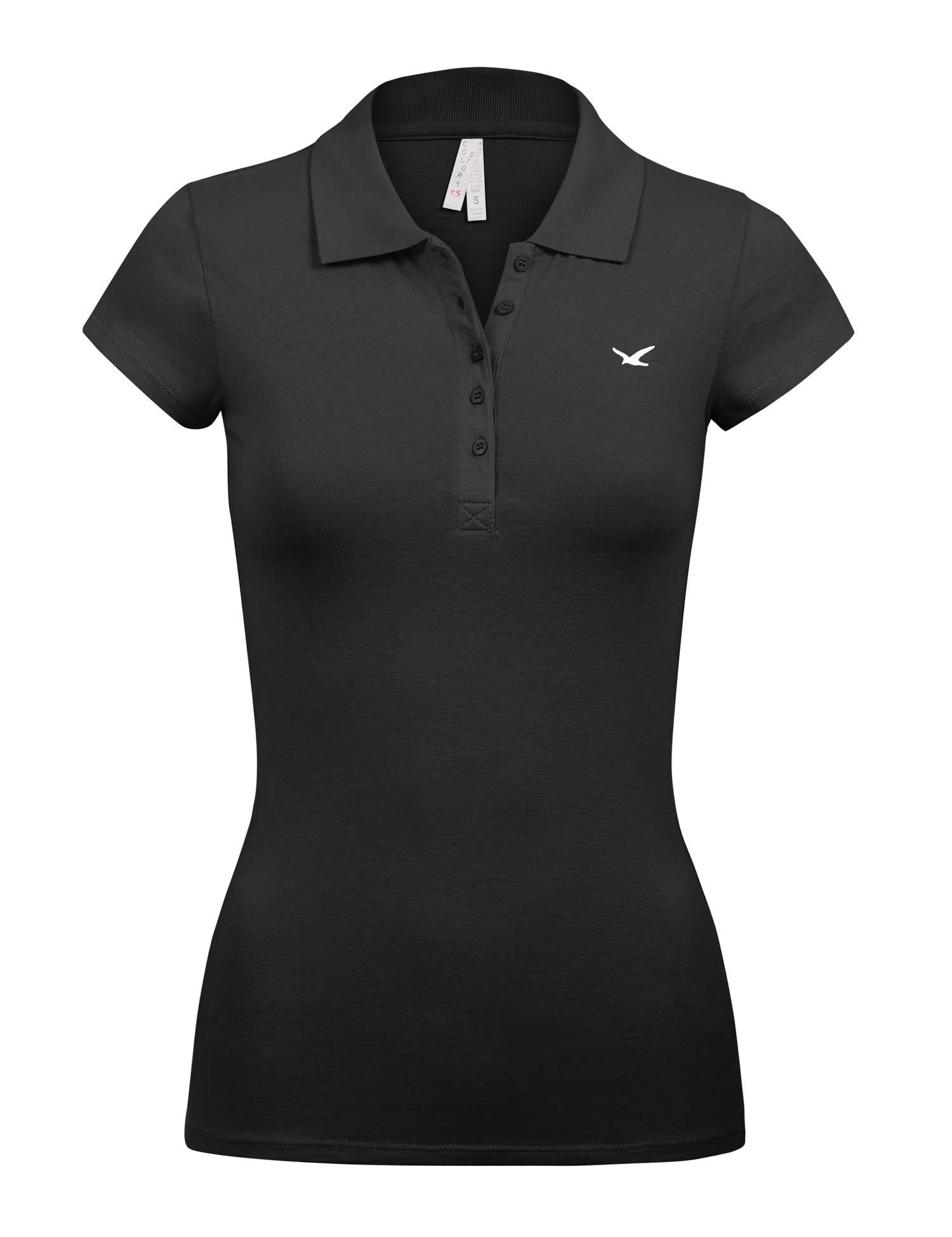 Women's Short Sleeve Black Color 5 Buttons Slim Fit Polo Shirts(3000-BLACK-L)