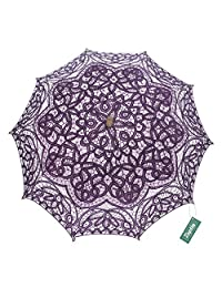 TopTie Antiqued Battenburg Lace Parasol Bridal Umbrella Wedding Prop Decoration-Purple