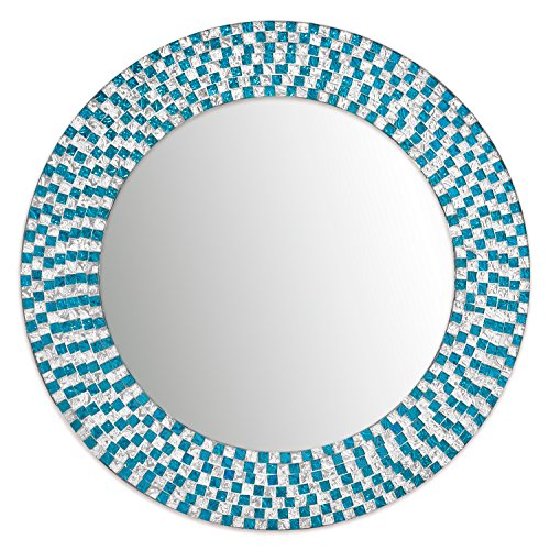 Hanging Wall Tiles - DecorShore 20 Inch Framed Decorative Turquoise Wall Mirror, Jewel Tone Accent Mirror, Round Decorative Wall Mirror w/ Embossed Glass Mosaic Tile Frame (Turquoise & Silver)