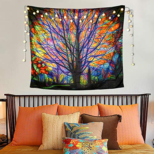 Tapestries Wall Hangings, Colorful Tree Tapestry - Psychedelic Animate Forest with Bedroom Living RoomBirds Bohemian Mandala Hippie Wall Art Backdrop, Perfect for Bedroom, Living Room (59 x 51)