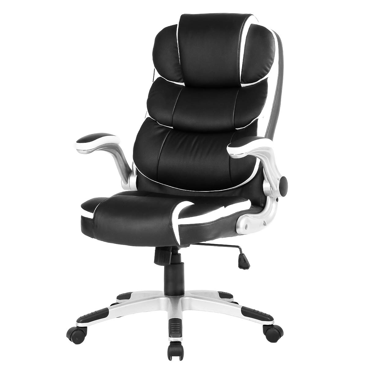YAMASORO Ergonomic Executive Office Chair High Back Leather Computer Chair Black Office Desk Chair with arms and Wheels Swivel for Heavy People