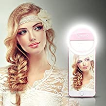 LONGKO 36 LED Selfie Ring Light Bulb Clip 3 Mode Illuminated Spotlight Night Lamp for iPhone 6/6S Android iPad Tablet - Pink