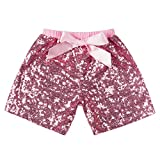 Messy Code Baby Girls Shorts Toddlers Short Sequin Pants Newborn Sparkle Shorts with Bow, Pink, XXXL(5-6Y)