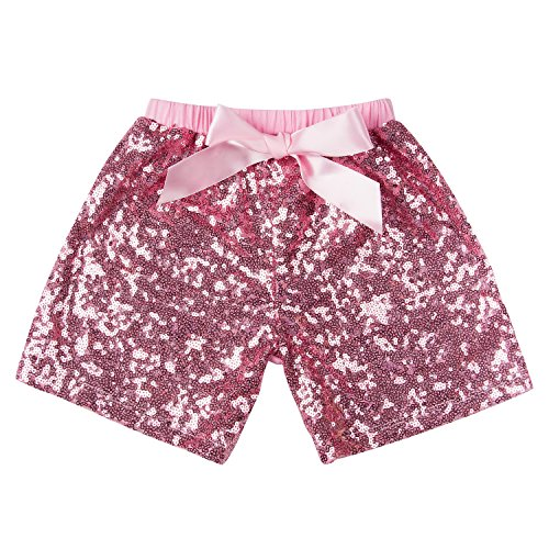Messy Code Baby Girls Shorts Toddlers Short Sequin Pants Newborn Sparkle Shorts with Bow , Pink, L(2-3Y)