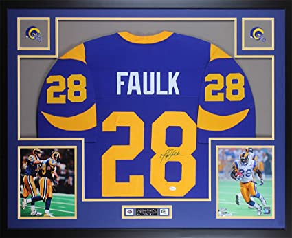 reputable site d8917 68b74 Marshall Faulk Autographed Blue St. Louis Rams Jersey ...