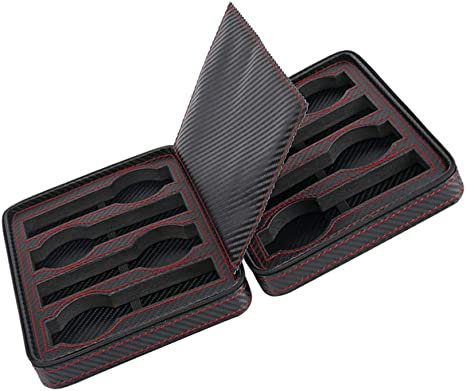HKHJ Portátil Cajas para Relojes de Fibra de Carbono Estuche para Joyas de Cremallera con 8 Compartimientos Viaje Caja de Almacenamiento para Relojes o Joyería Organizadore Cajas de Regalo: Amazon.es: Deportes y