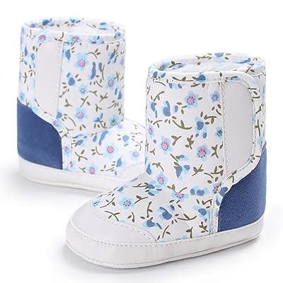 HEART SPEAKER Stars Print Baby Girl Boy Fashion Canvas Anti-Slip Thick Warm Shoes Winter Boots Size 13cm (1#)
