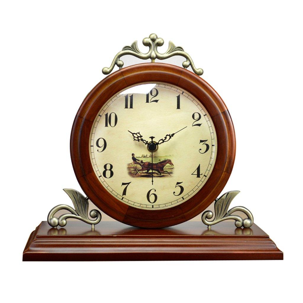 CFJRBレトロヴィンテージマンテル/ヨーロッパ円形のコーヒーカラーミュートクォーツ時計デスクと棚の時計の装飾、テーブルクロックテーブルクロック B07BQWV9H6