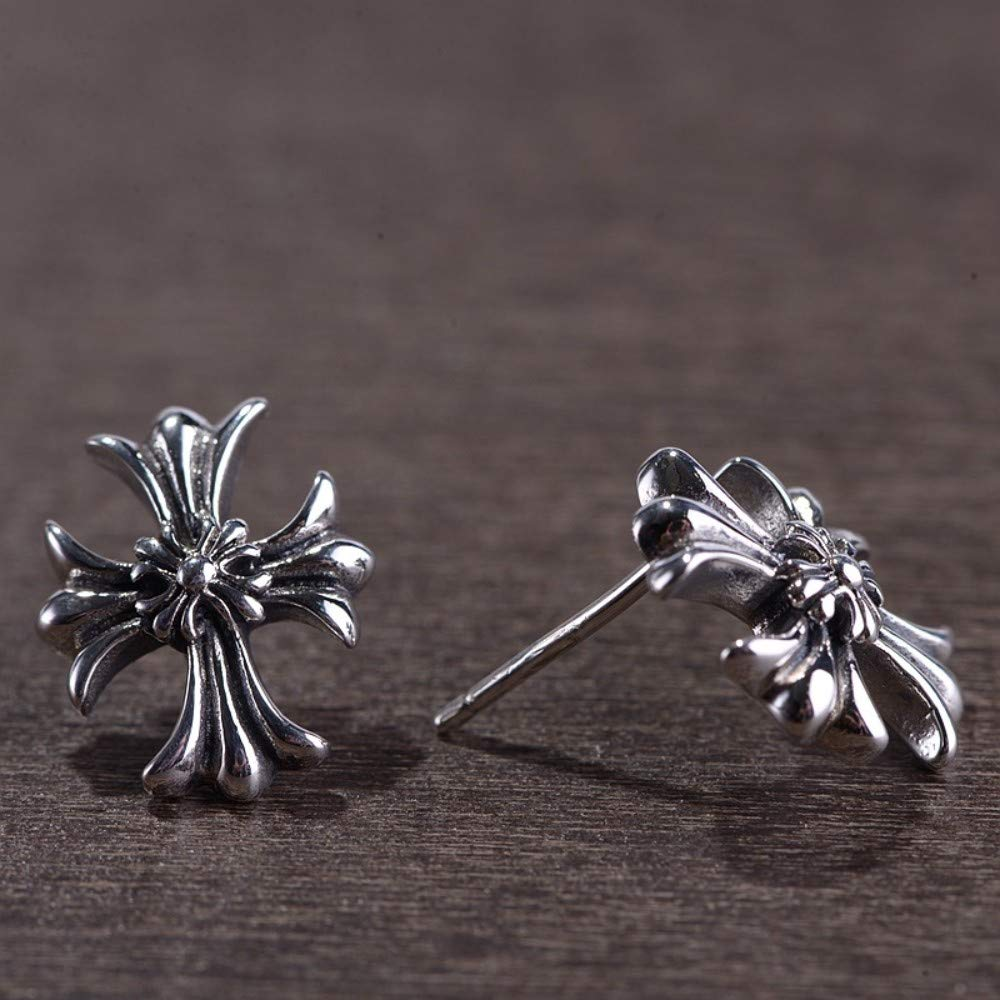 925 Sterling Silver Earrings Womens Vintage Accessories Cross Flower Studs Personality Fashion Creative Gift Trend Old Craft