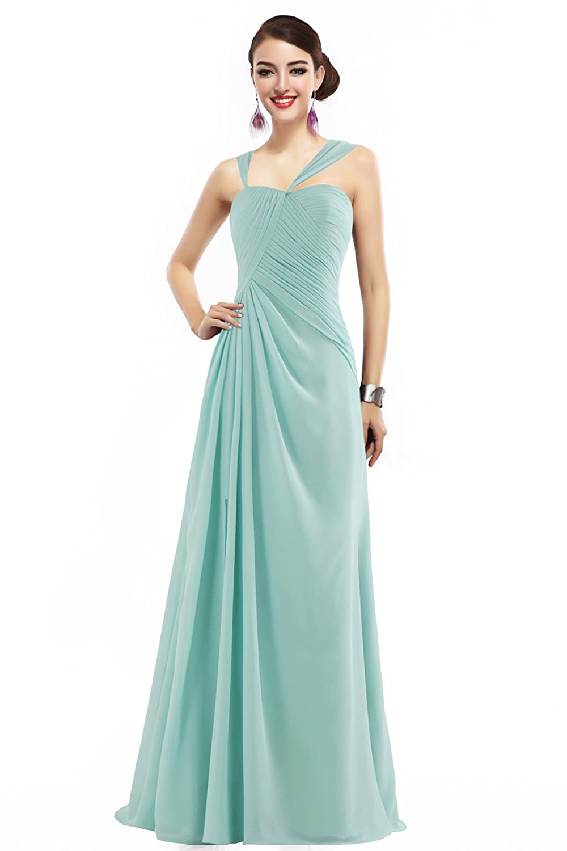 Landyagent Elegante lang Chiffon Ballkleid Brautjunfernkleid Abendkleid 6 Farbe