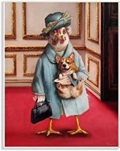 Stupell Industries Queen Chicken with Corgi Regal Animal Humor, Designed by Lucia Heffernan Wall Art, 13 x 19