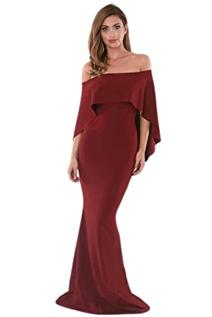 Women s Sexy Off Shoulder Evening Maxi Dress Bodycorn Cocktail Party Dress  Red S 11d823224f