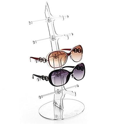 Forme Arbre 5 Paires Support de Mode Acrylique Support à bagages Lunettes de soleil,Voilier Bricolage Stand Rack Support Présentoir de Soleil Lunettes (Transparent)