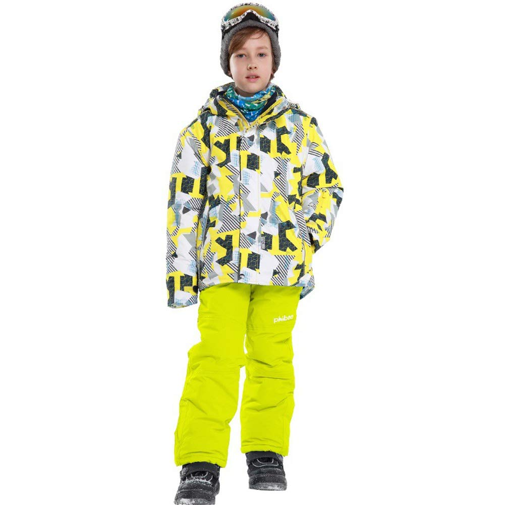 LiBridal Boys Windproof /& Waterproof Ski Jacket and Pants Two Piece Printed Snowsuit Set