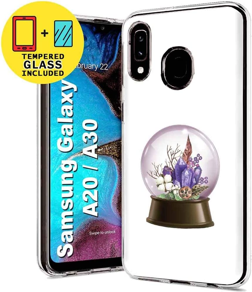 TalkingCase Clear TPU Phone Case for Samsung Galaxy A10E,SM-A102U,Colorful Leaf Print,Light Weight,Flexible,Anti-Scratch,Tempered Glass Screen Protector Included,Designed in USA