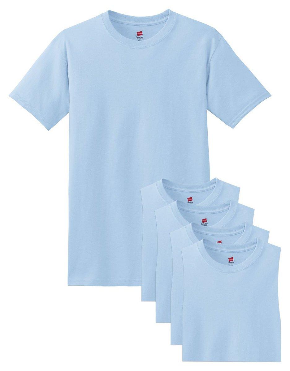Hanes メンズ Tシャツ ラベルなし 柔らかくて快適 丸首(5枚入り) B015NJQC1I X-Large ライトブルー ライトブルー X-Large
