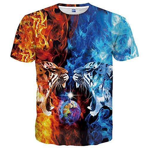(YAJOOEY Unisex 3D Colored Print Short Sleeve Shirts Tees S)