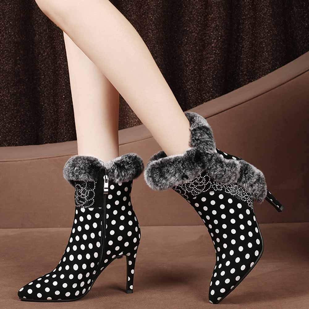 WANG-LONG Schuhe Damen Martin Herbst Winter Leder Plus Flusen Flusen Flusen Wies Kurze Mit Hohem Absatz Warm Rutschfest Atmungsaktiv schwarz(B)-34 c27e43