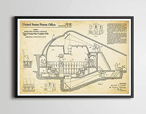 1956 Disney Rocket To The Moon Patent Art Poster Up To Full Size 24 X 36 Tomorrowland Disneyland Walt Invention Blueprint Handmade