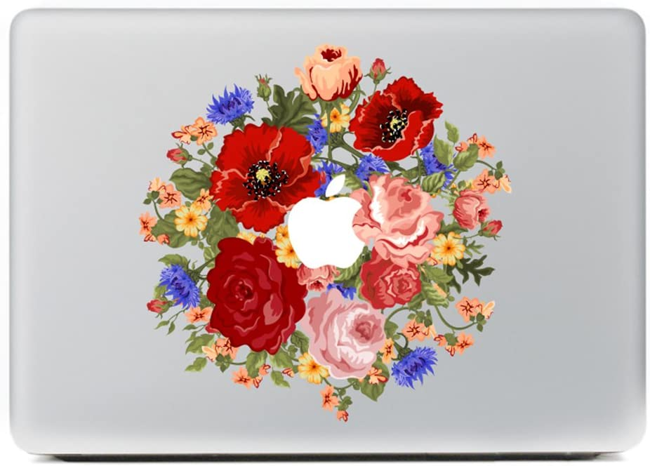 "Kiseki MacBook Sticker Peony Bouquet Laptop Notebook Decal Skins Stickers Fit for MacBook Air Pro Retina 13""/Hp/Lenovo/Dell/Compaq/Asus/Acer/Samsung/Surface Book(13"")"
