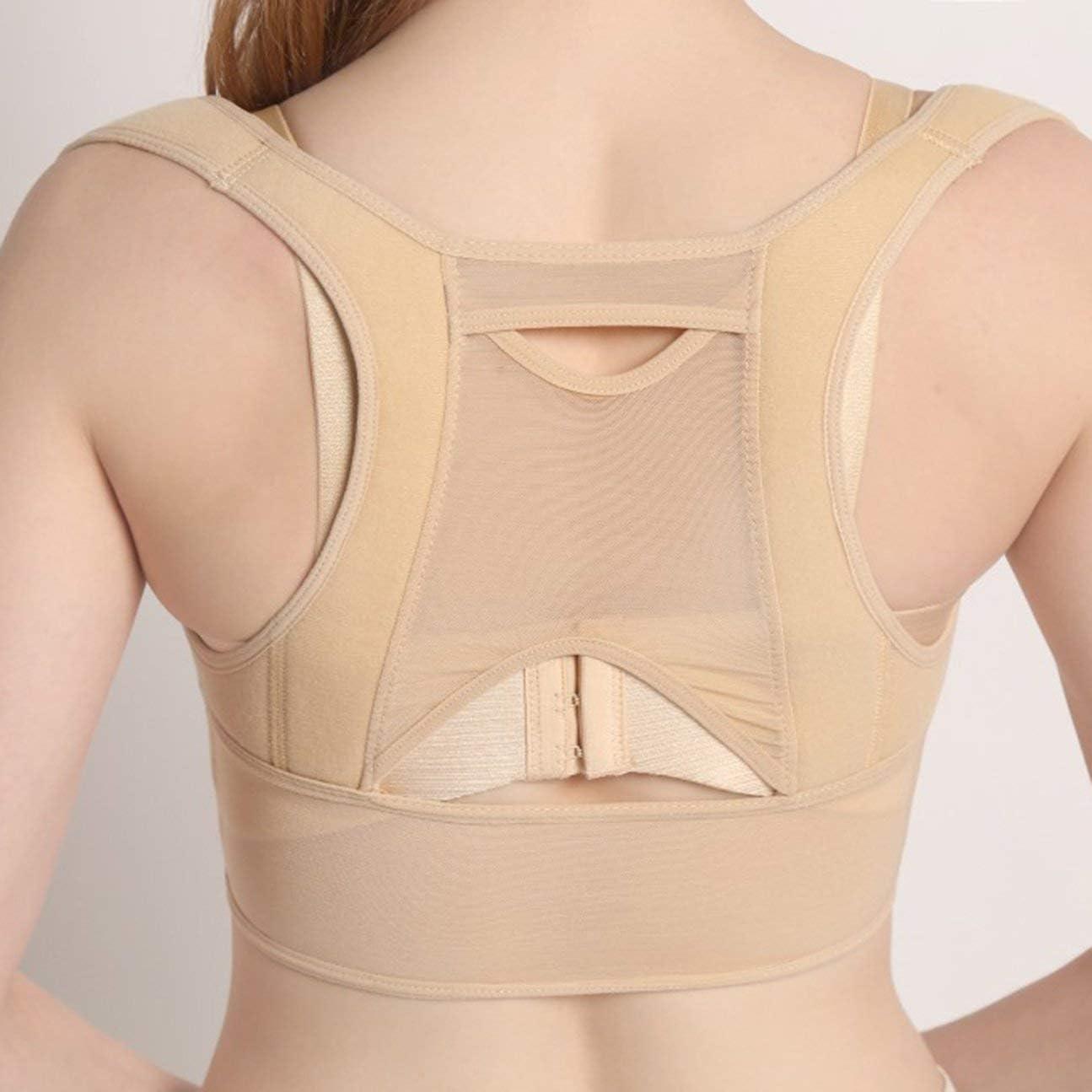 Mujeres Respirables Volver Corrección de la Postura Corsé Ortopédico Espalda Superior Hombro Columna Corrector de Postura Soporte Lumbar Beige Blanco L