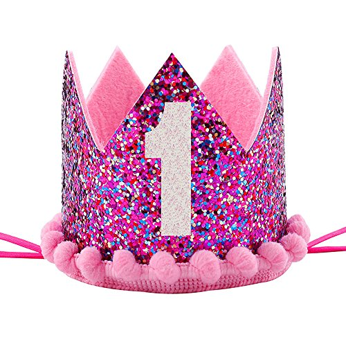 Maticr Sparkled First 1st Birthday Crown Baby Girl Princess Headband Party Supplies for Cake Smash (Glitter Purple)