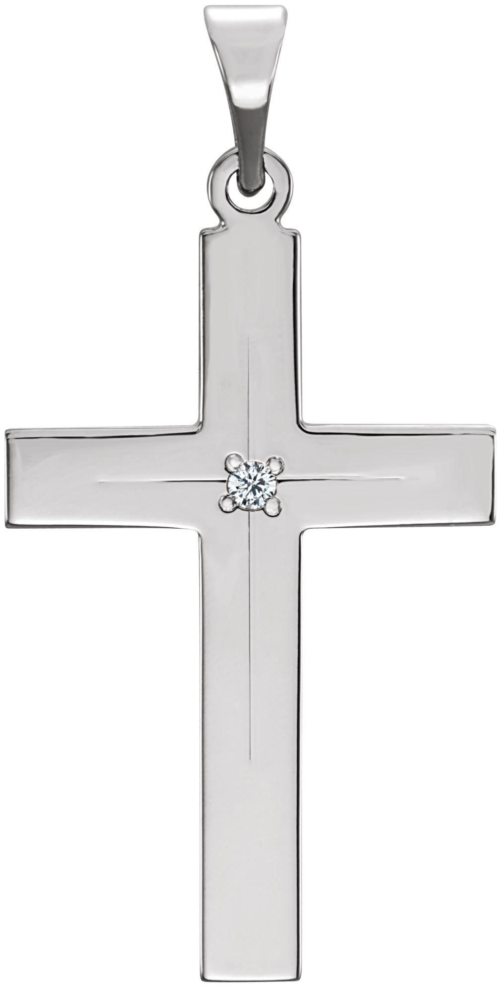 Diamond Cross 14k White Gold Pendant