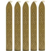 becoler 5pcs clásico sello de cera de sellado de cera sello Stick para lacrar, diseño retro, Dorado, 1