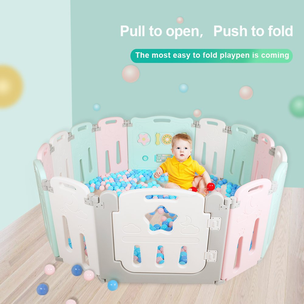 Foldable Baby Playpen 14 Panel Kids Activity Center Toddler Play Yard Easy to Store Safety Games Fence Indoor and Outdoor Kids Nursery Center New Pen(Multicolour) Zhejiang Yongkang Baby Products Manufacturer