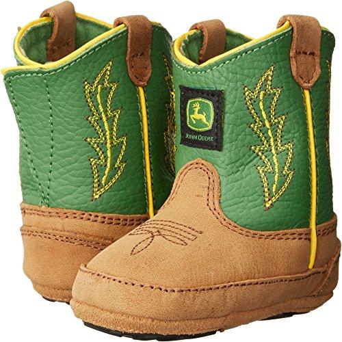 John+Deere+Western+Boots+Boys+Crib+Stitched+1+Infant+Tan+Green+JD0186