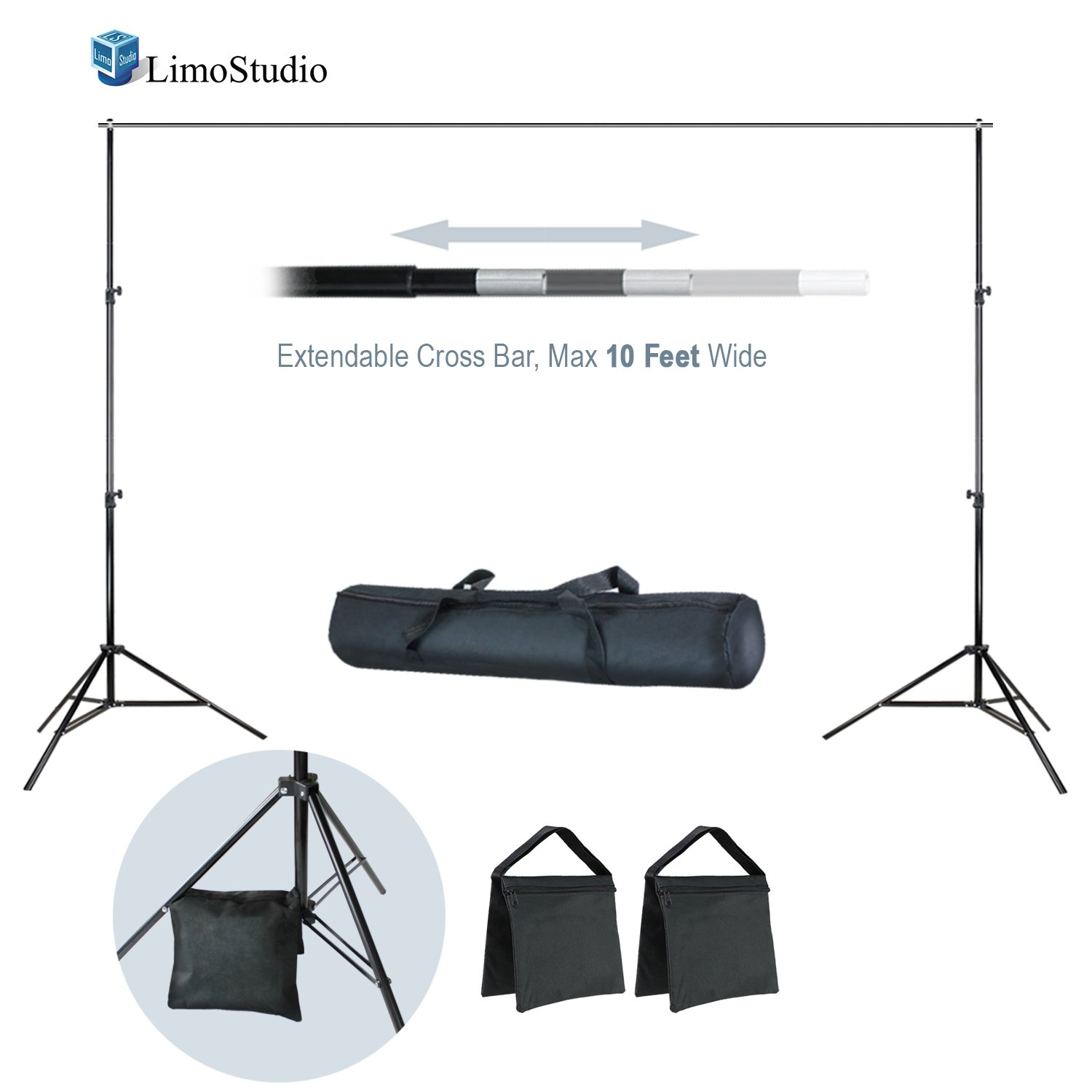 LimoStudio 10 ft Wide x 7 ft Tall Backdrop Muslin Support Stand and Cross Bar Kit with Sand Bag and Carry Bag for Photo Video Studio, AGG2600 by LimoStudio