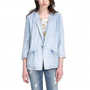 Women Fashion Casual Vintage Denim Blazer Chic Comfortable Casual