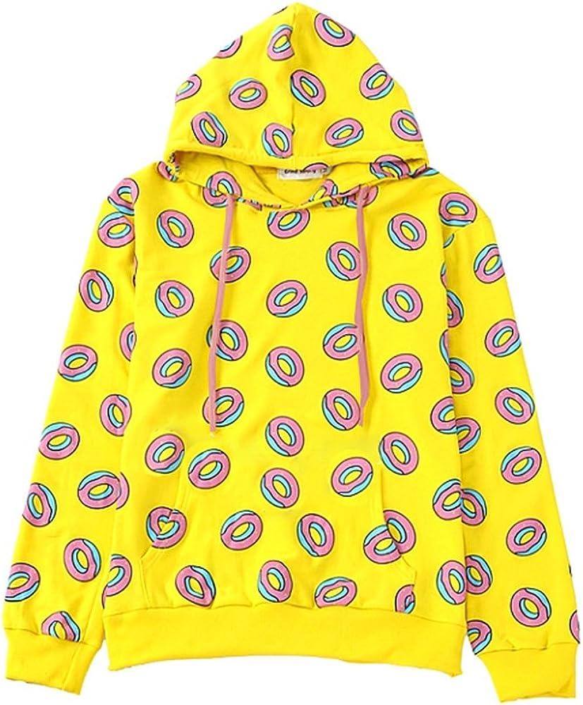 AILIENT Felpe con Cappuccio Donna Elegante Moda Pullover Maniche Lunghe Stampata Donuts Sweatshirt Oversize Hoodie Casual Cappotto Tops