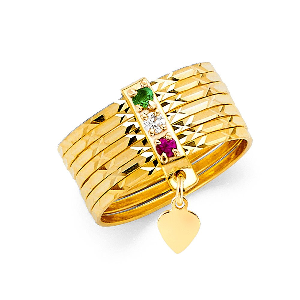 14K Yellow Solid Gold 8mm Tri Color Cubic Zirconia CZ 7 Days Stacked Semanario Ring Band- Size 6 by Ioka
