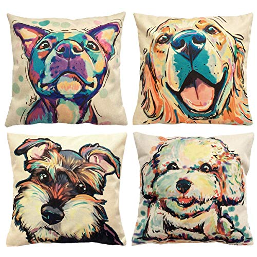 - NYKKOLA Soild Linen Cute Dog Pattern Cotton Throw Pillow Covers Set of 4, Decorative Pillowcase Cushion Cover for Sofa Bedroom Car 18 x 18 Inch 45 x 45 cm (Style 15)