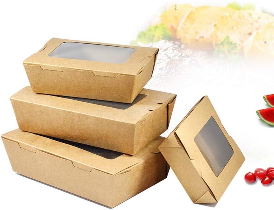Xiao-bowl3 100 Cajas Caja de Ensalada de Papel Kraft Desechable A ...