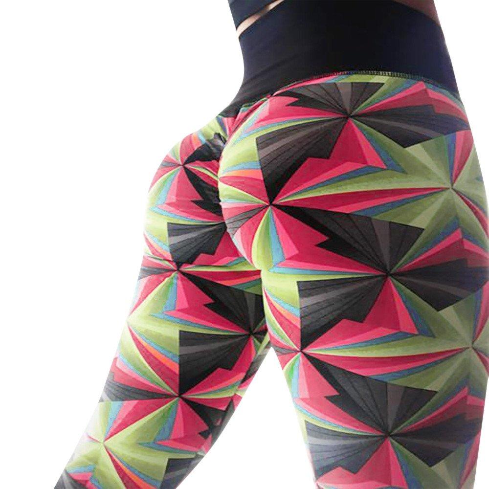 Yoga Mujer Deportiva Pantalones, Pantalones Empalmado de Leggins Hippy Pantalones Leggings Capas Atléticos Plisadas Huecas Siete Puntos Pantalones De Yoga Parche de Color