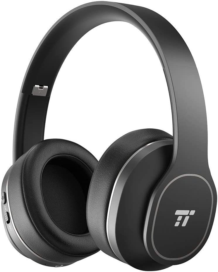 TaoTronics ANC Foldable Bluetooth Headphones Durable Over Ear Headphones with Soft Protein Ear Pads & 24 Hour Playtime CVC 6.0 Noise Cancelling Mic Wireless Headphones