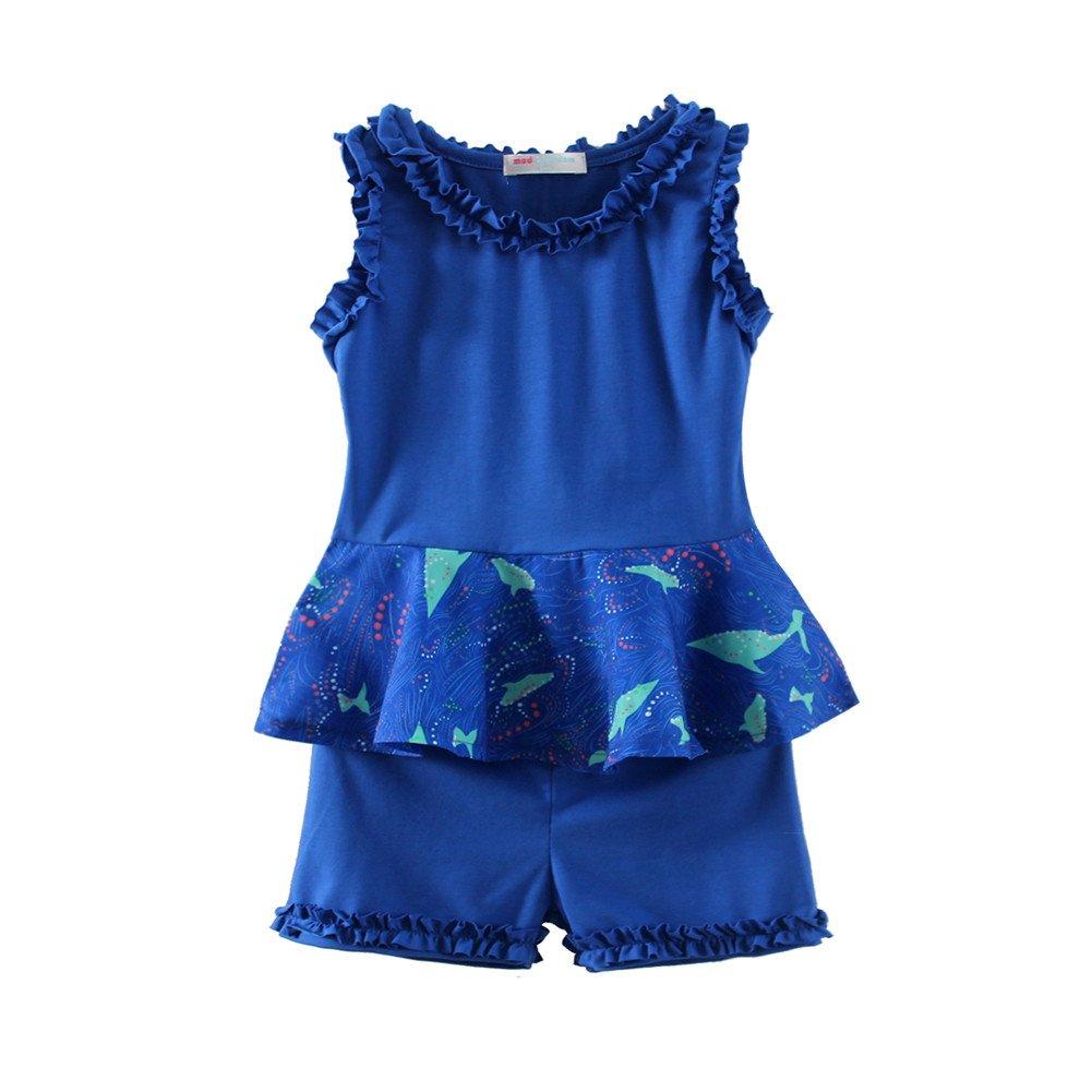Mud Kingdom Girls Outfits Holiday Summer Shirts and Short Clothes Sets