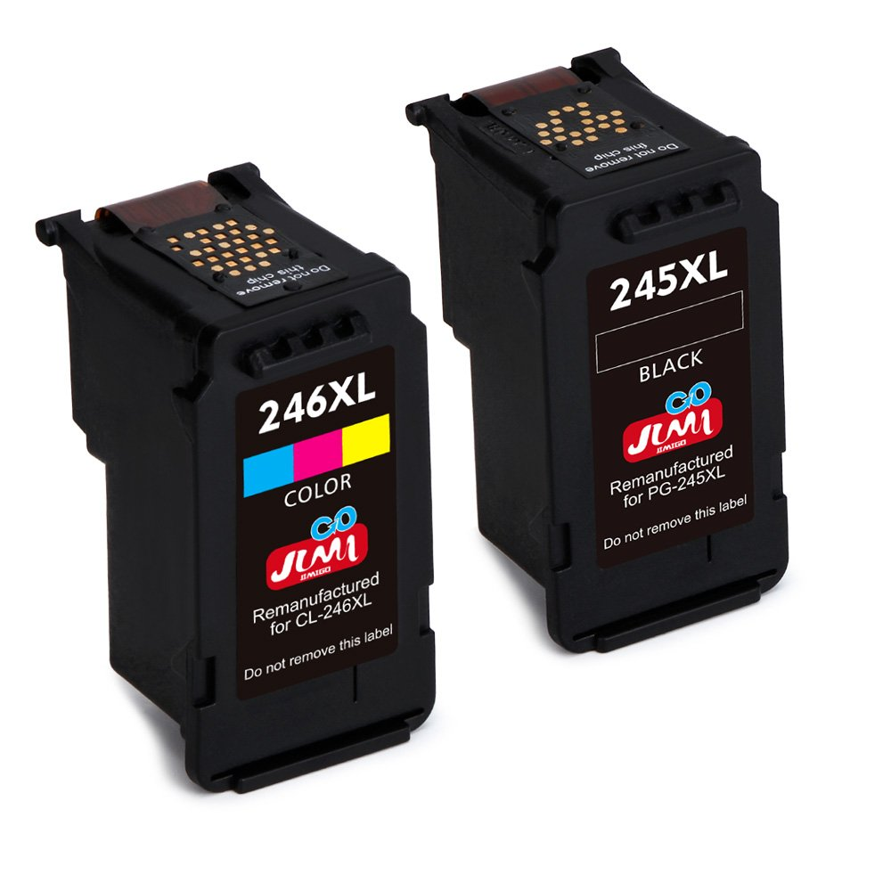 JIMIGO 245XL 246XL Remanufactured for Canon PG-245XL CL-246XL Ink, High Yield (1 Black, 1 Tri-Color) Work with Canon Pixma MX492 MX490 MG2520 MG2920 MG2420 MG2522 MG2922 MG2525 MG3022 MG3020 IP2820