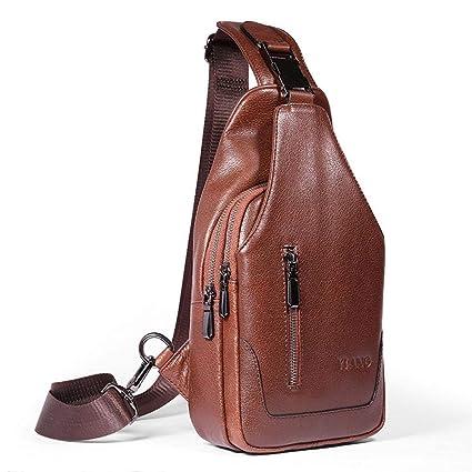 7cf1101a2ba1a Men s Sling Bag Men Genuine Leather Chest Bag-AOLVO Crossbody Shoulder Bag  Casual Backpack Messenger