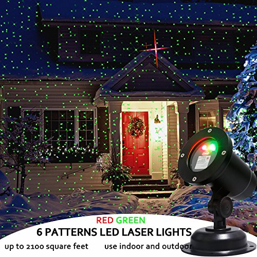 EAMBRITE Motion Laser Projector, Red and Green Dancing Lights, choose 6 moving patterns for Parties, Wedding, Landscape and Garden Decorations