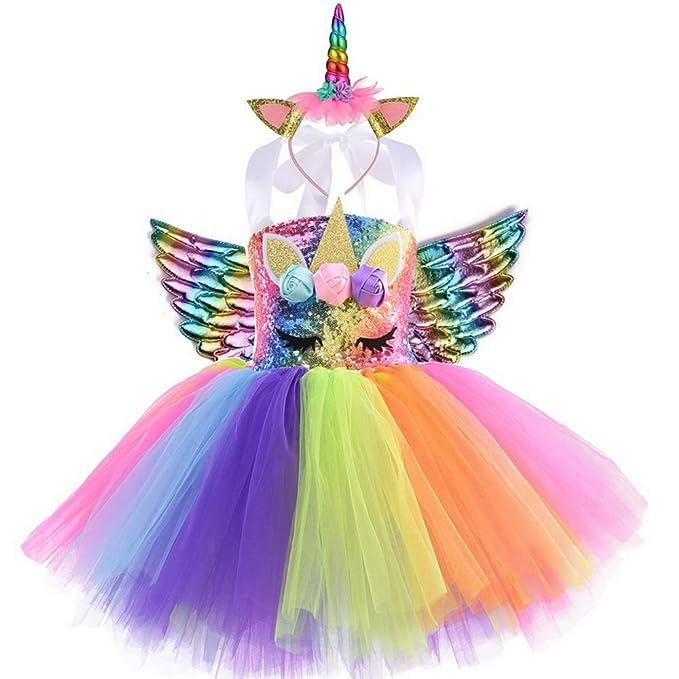 yeesn Disfraz de Unicornio para niñas Unicornio Vestidos ...